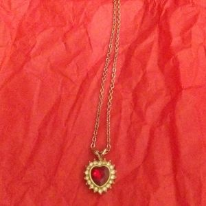 """Vintage 20"""" Heart Necklace On Silver Look Chain"""